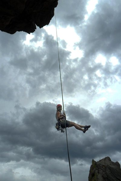 Rock Climbing Photo: Brenda free hangs on 1st Maiden rappel.
