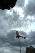 Rock Climbing Photo: Brenda free hangs on 1st Maiden rappel.