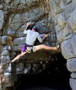 Rock Climbing Photo: Climbing on the beach in Dunedin, NZ