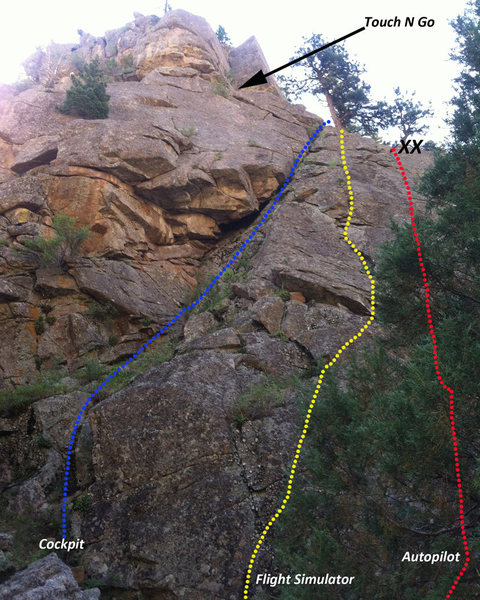 Rock Climbing Photo: Approximate routes for Cockpit, 5.7- (blue); Fligh...