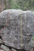 Rock Climbing Photo: Boulder 4 with routes a, b, and c. (red, yellow, b...