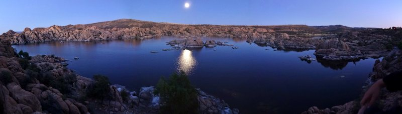 Rock Climbing Photo: Watson Lake under a full moon at dusk