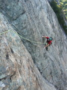 Rock Climbing Photo: Lynn Purser moves into the crux sections