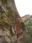 Rock Climbing Photo: Alan Doak starts off on the lower 1/2 of Just Anot...