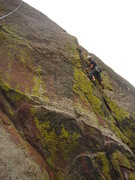 Rock Climbing Photo: Alan Doak gets to the Crux on the upper 1/2 of 'Ju...