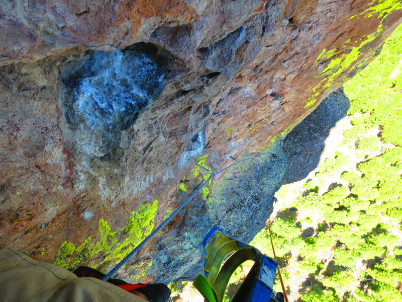 Rock Climbing Photo: linking P4 and 5.  just after clipping the first f...