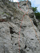 Rock Climbing Photo: The Weischroute is the main route in red. To the r...