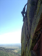 Rock Climbing Photo: JW topping out on Heavy Weather 2013