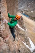 Rock Climbing Photo: Josh on the crux pitch.  Photo: Rob Kepley.