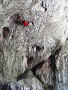 Rock Climbing Photo: The leg thread move.