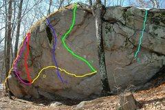 Rock Climbing Photo: A: La Olla, V5R B: La Vida, V3 C: La Pura Vida, V4...