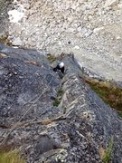 Rock Climbing Photo: Adrienne Kentner following P2 of Ruby Shoes 5.7
