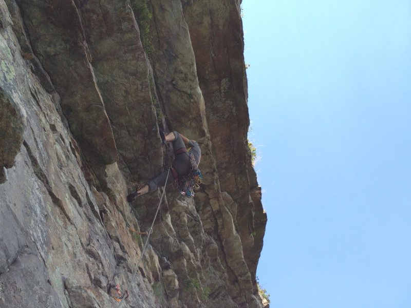 Divnamite going up the first overhang