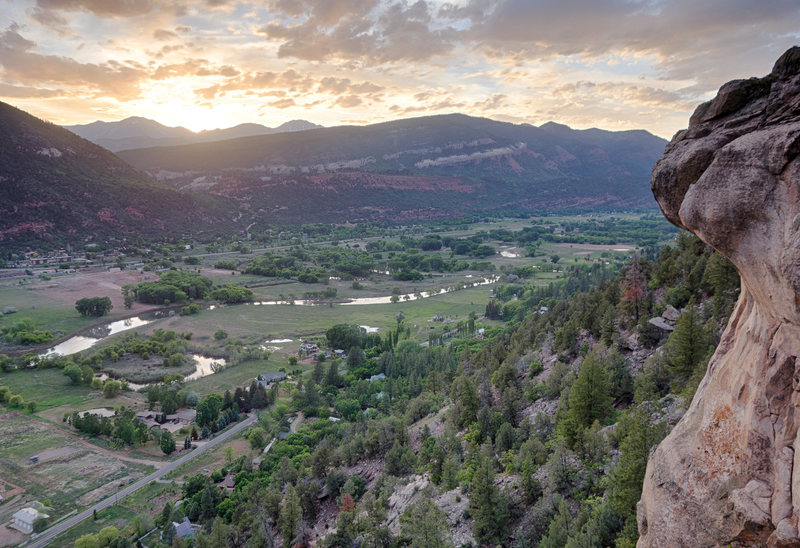 "Rock Climbing Photo: Looking at the sunset and the route ""Freebase..."