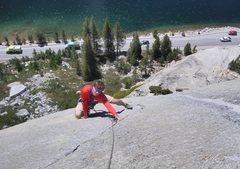 Rock Climbing Photo: Bernard on the nice finger crack on pitch 2