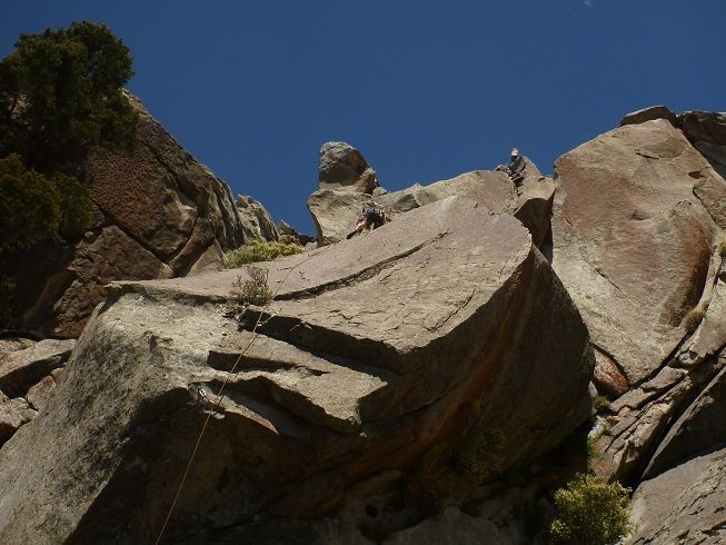 Rock Climbing Photo: Rahul Ravel topping out at the anchors on the FA.