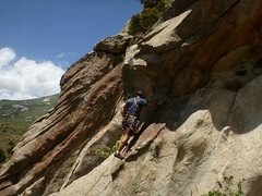Rock Climbing Photo: Rahul Ravel on the FA. The first bolt can be clipp...