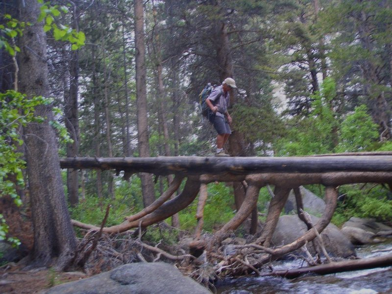 Doug crossing the creek on the scary log bridge