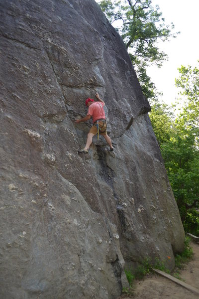 Reaching for the flange on Friction Layback.  The Bulge Route goes straight up.