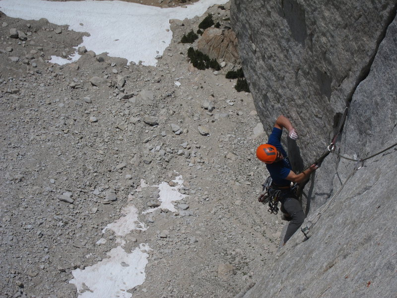 Pulling the roof on the final 5.12 pitch.