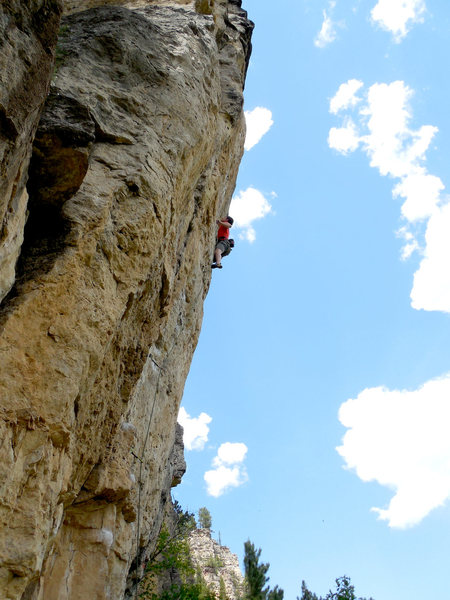 Austin approaching the high crux of Mohican.