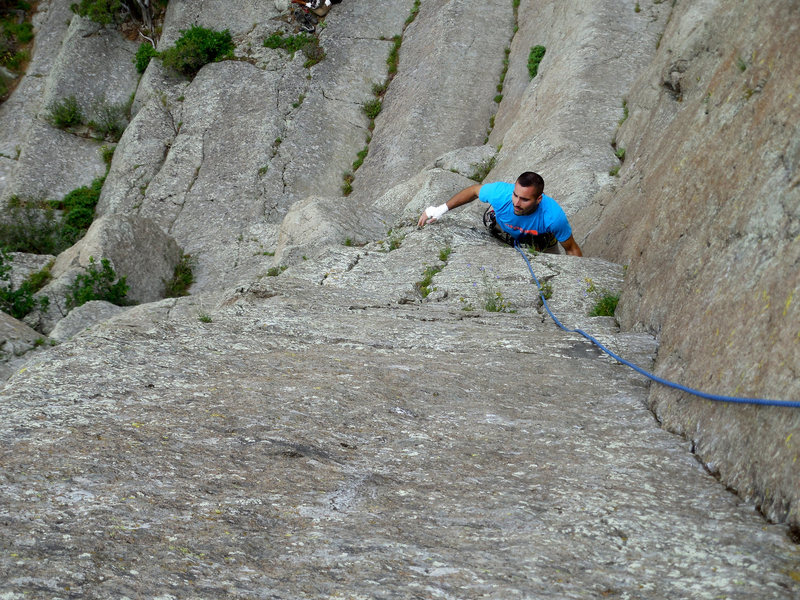 Rock Climbing Photo: A good combo of crack and face holds make this cli...