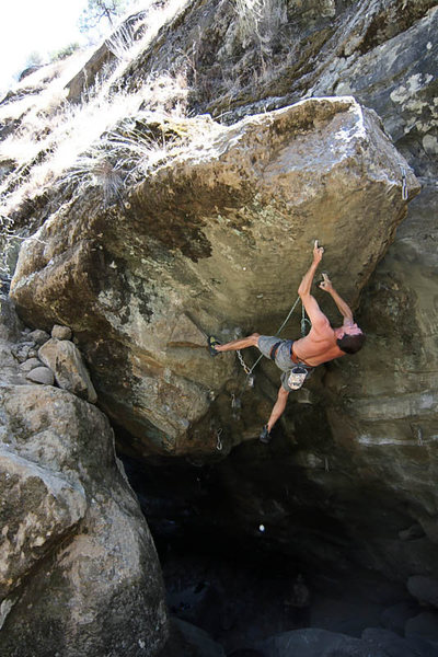 Rock Climbing Photo: Normal Guy testing his pocket strength prior to th...