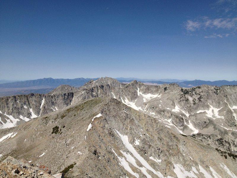 On the summit of Pfeifferhorn, Utah. Looking at Lone Peak and the Salt Lake Valley
