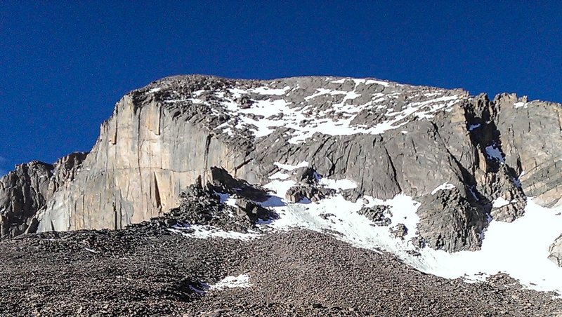 View of the North Face on Long's Peak (Cable Route) from the Boulderfield on 6/25/2013.