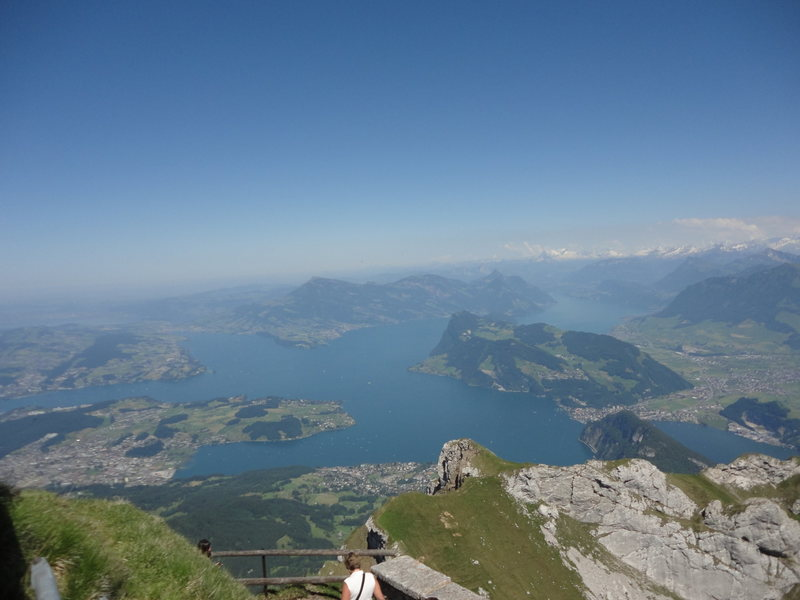 Lake Lucerne from the summit.  It can be a tourist madhouse at the top during summer, but you've at least worked for your summit coffee and cake!