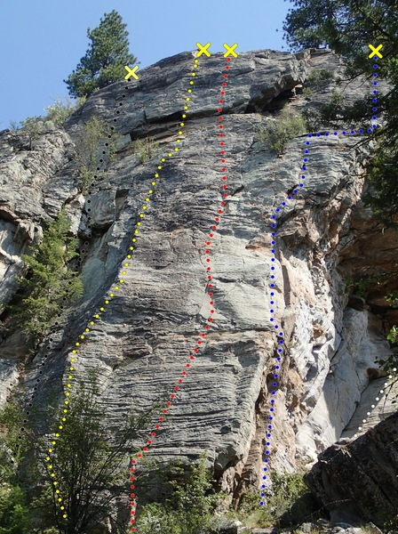Rock Climbing Photo: The Green Wall - right side topo