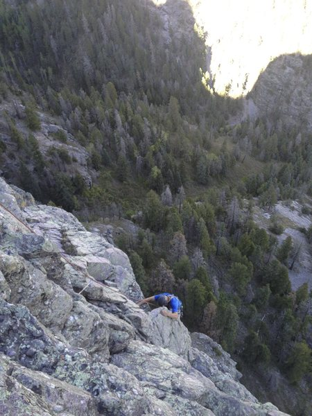 Rock Climbing Photo: Nearing the end of pitch 3 of Da Cherry on Top!, 5...