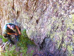 Rock Climbing Photo: Taking a knee, catching his breath on a hot day.