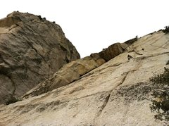 Rock Climbing Photo: Left var. of pitch 3 up slab and 5.8 flakes up and...
