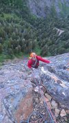 Rock Climbing Photo: Approaching the top of pitch two.