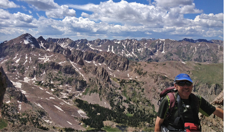 Valhalla and Thor Tower (to right of long snow gully) from Rain Ridge. Stan Wagon on the ridge.<br> <br> Photo by Katie Larson.