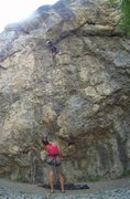 "Rock Climbing Photo: Moving to the roof, at the forth bolt,""Licens..."