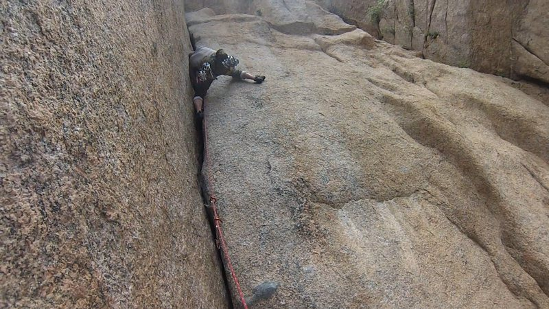 "Rock Climbing Photo: Past the ""wide"" section on P1."