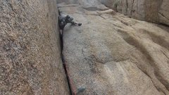 """Rock Climbing Photo: Past the """"wide"""" section on P1."""