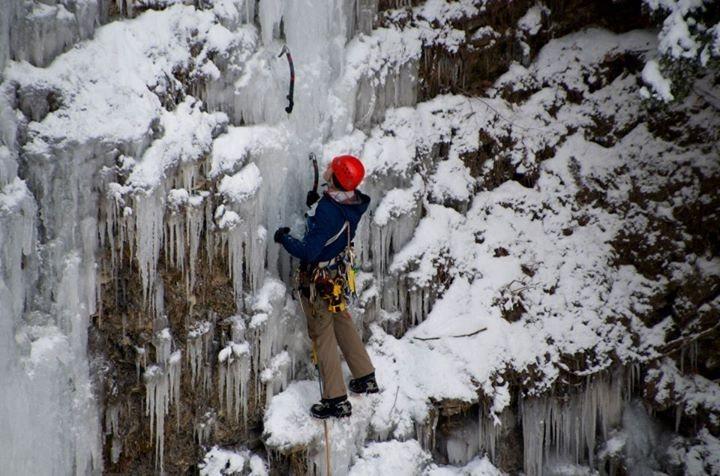 Climber on Little Angel Falls, Naples NY