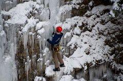 Rock Climbing Photo: Climber on Little Angel Falls, Naples NY