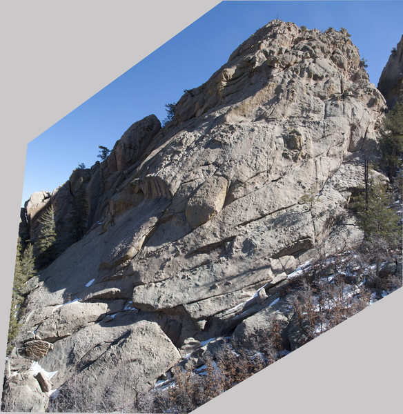 Rock Climbing Photo: Large formation at 7,900' on the east north ridge ...