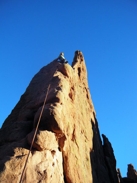 Up the first pitch of Montezuma's Tower. Ended up bailing due to my tight hipster pants.