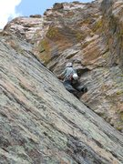 Rock Climbing Photo: Doug starting the dihedral of pitch 4.