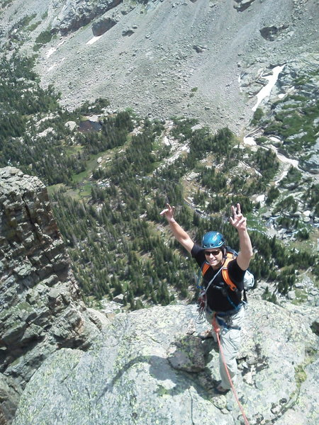 Rock Climbing Photo: Travis Parigi near the top of P2, psyched to be cl...