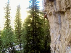 Rock Climbing Photo: Carl feels the curve of Ice-Sickler, 5.12a