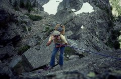 Rock Climbing Photo: Buc Taylor rapping off Hallett BITD Photo: Olaf Mi...