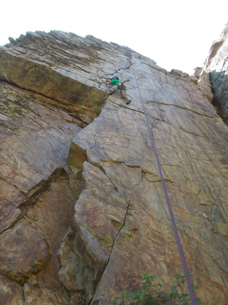 Rock Climbing Photo: Garrett Gillest sending and cleaning gear on &quot...