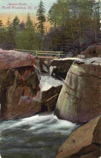 Shows the downclimb, the traverse and the climb, superimposed onto an old postcard of the basin.