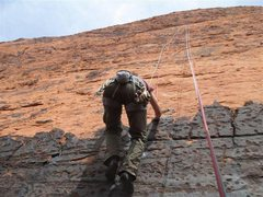 Rock Climbing Photo: Cleaning the route....shows the varnish-y start to...